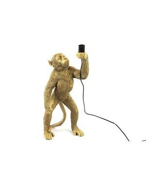 Countryfield Tafellamp aap E27 Cheeta staand goud