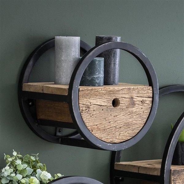 Wandschap circular Ø30 met lade / Robuust hardhout