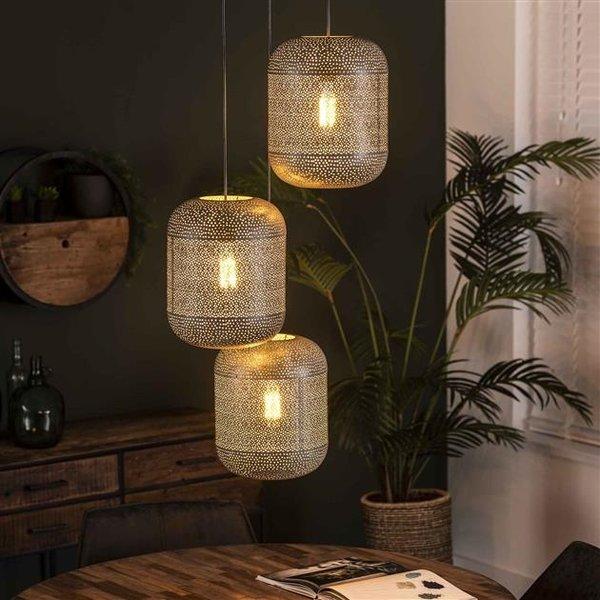 Hanglamp 3L etch getrapt / Oud zilver