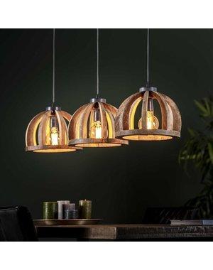 Hanglamp 3x Ø30 gebogen houten spijlen