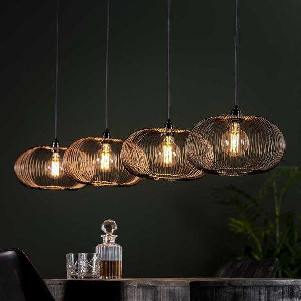 Hanglamp 4x Ø35 disk wire copper twist / Zwart nikkel