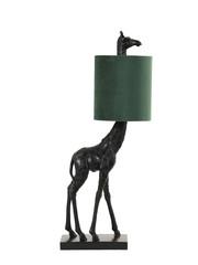 Light & Living Tafellamp 26x16x61 cm GIRAFFE zwart+velvet donker groen