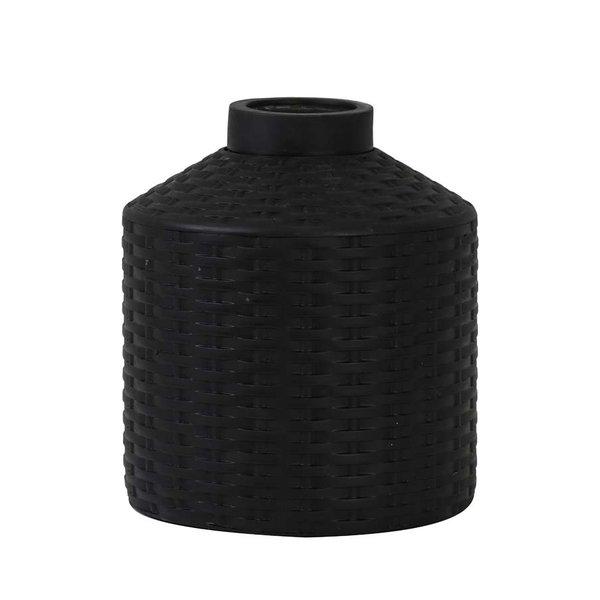 Light & Living Vaas deco Ø20x22,5 cm WICK mat zwart