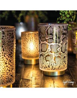 Light & Living Tafellamp LED SNAKE Glas Wit – Zwart groot