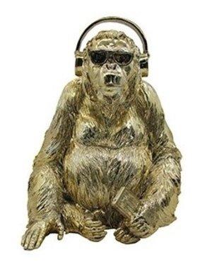 Richmond Interiors  Decoratief beeld Gorilla goud muziek