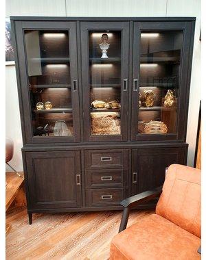 Maxfurn Vitrinekast Mike 5 deurs en 3 lades Old Piano * Showroommodel