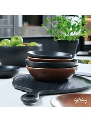 Light & Living Snijplank / dienblad KUMASI hout zwart