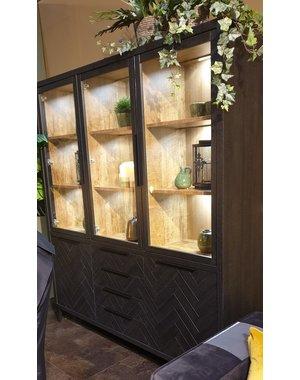 Maxfurn Vitrinekast Gamma Old Piano - 3 glazen deuren
