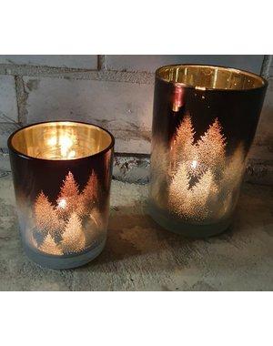 PTMD Theelicht Fetching Brown metalic glass  - Diverse maten