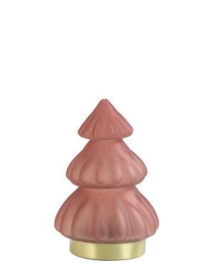 Light & Living Tafellamp LED Ø12x18 cm TREE glas mat koraal rood