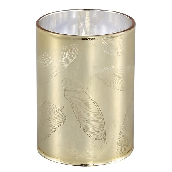PTMD Coucou Goud glas LED theelicht leaves rond S