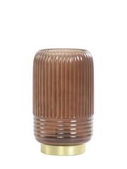 Light & Living Tafellamp LED Ø12x18,5 cm LIPA glas donker bruin