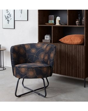 Woood Bloom Fauteuil Fluweel Zwart