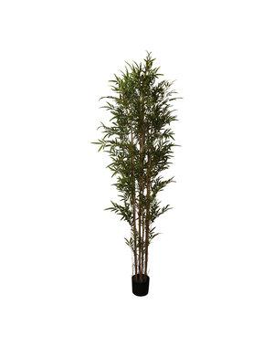 PTMD Kunstplant groene bamboo in zwarte plastic pot L