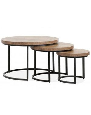 Set van 3 salontafels Hugo met stalen onderstel - kleur Mango