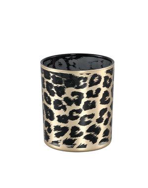 PTMD Windlicht Desiree Gold glas cheetah - klein of groot
