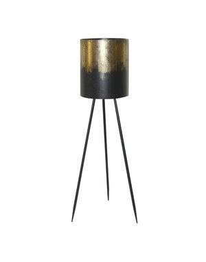 PTMD Kacy Goud metallic ijzeren plantenbak rond