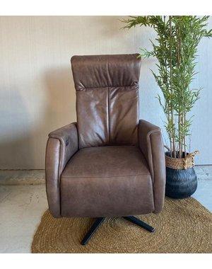 Releazz Relaxfauteuil  EA 328 Draai L, Leder Vintage brown, 2 motorig, S5 zwart