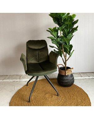 Tower Living Eetkamerstoel Rota Swivel - groen, grijs en bruin
