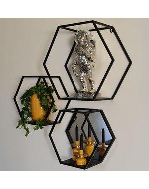 Light & Living Wandrek+spiegel  HUAL mat zwart - 2 maten