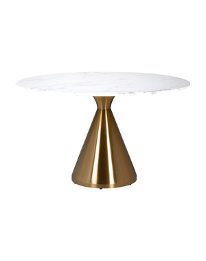 Richmond Interiors  Eettafel Tenille rond 130 faux marmer (Brushed Gold)
