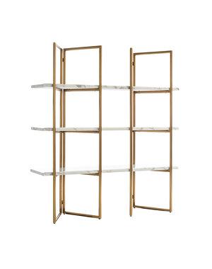 Richmond Interiors  Wandkast Lagrand Gold met 3 planken faux marmer (Goud)