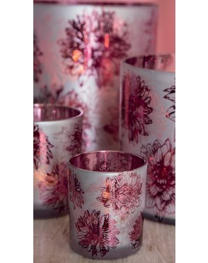 PTMD Theelicht Denise Roze glazen carnation - Maat S en M