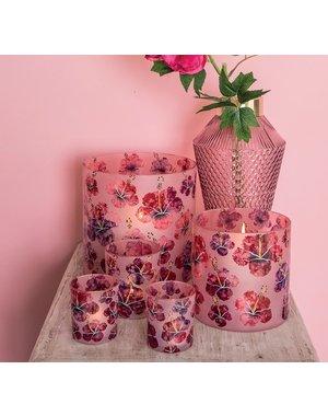 PTMD Theelicht Denise Roze glazen hibiscus bloemen - Maat s en M