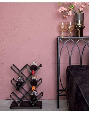 PTMD Abhy Zwart ijzeren wijnrek staand rechthoek S
