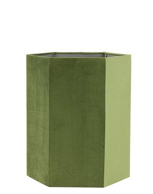 Light & Living Lampenkap hexagon VELOURS velvet olijf groen - Diverse maten
