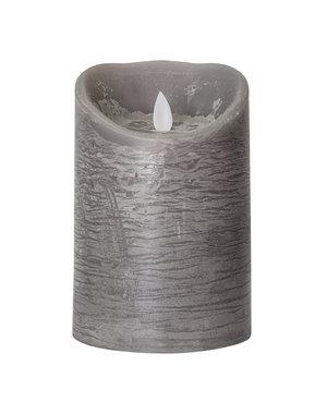 PTMD LED Licht Kaars suede grey met beweegbare vlam