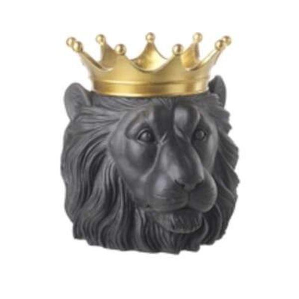 Parlane Bloempot KING LION  zwart/goud