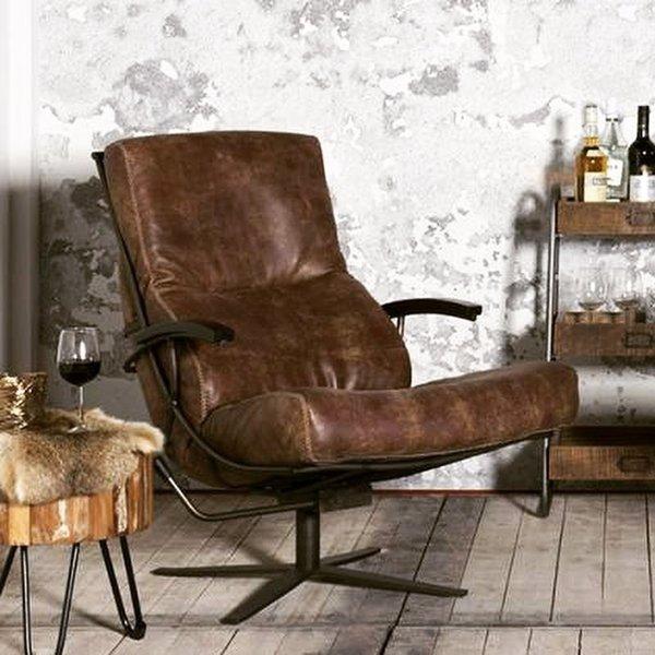 Het Anker Draaifauteuil Rasmus L60  met zwart houten armleuning