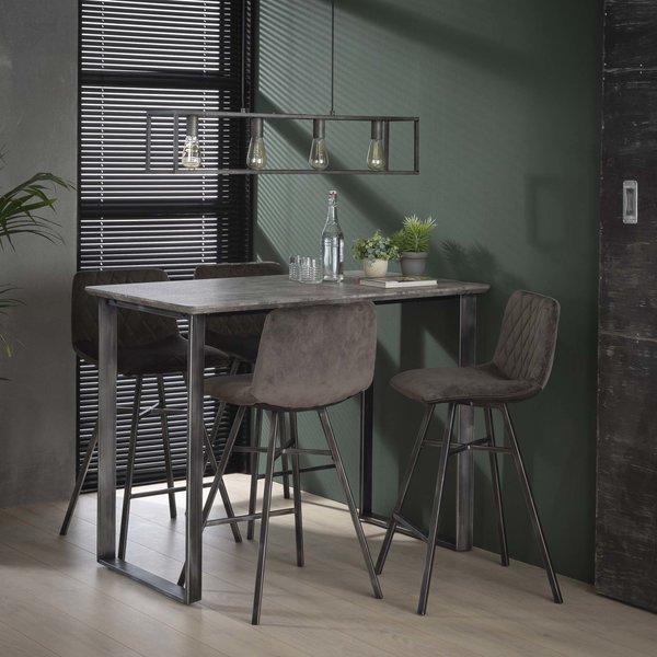 Bartafel 120cm 45°  frame / 3D betonlook grijs