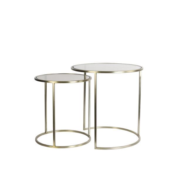 Light & Living Bijzettafel set van 2 DUARTE glas bruin+licht goud