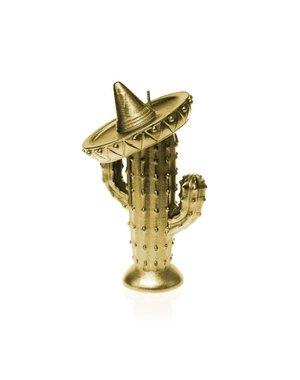Candellana Kaars cactus met sombrero goud