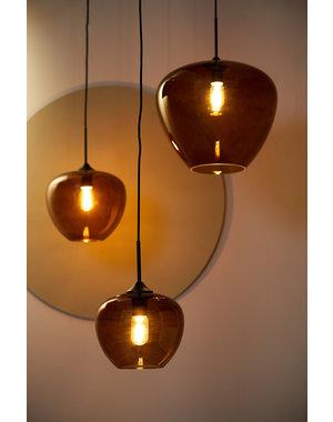 Light & Living Hanglamp MAYSON  zwart+glas bruin - Diverse maten