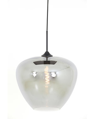 Light & Living Hanglamp MAYSON mat zwart+glas smoke - Diverse maten