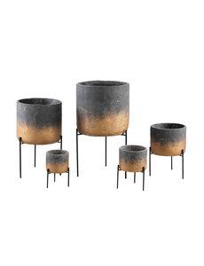PTMD Bloempot Aimy grijs/goud cement op ijzeren voet XL