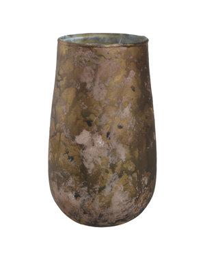 PTMD Theelicht Sjoerd mat bruin glas - L of XL