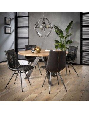 Eettafel rond met dik massief acacia blad Ø 120 of Ø 135