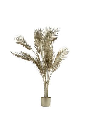Parlane Ornament in pot PALMTREE  metallic licht goud - 2 maten