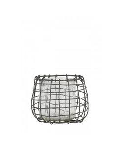 Windlicht Ø12x11 cm SARENA draad grijs+glas