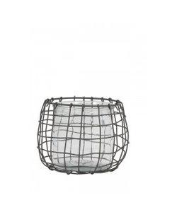 Windlicht Ø14,5x13 cm SARENA draad grijs+glas