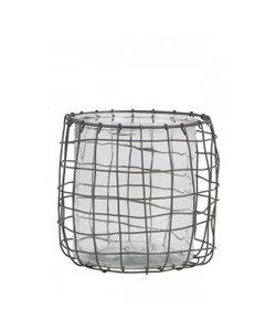 Windlicht Ø17,5x18 cm SARENA draad grijs+glas