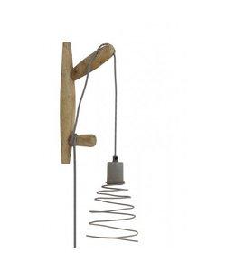 Wandlamp 15x7x33 cm STADEN hout naturel+cement