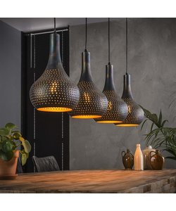 Hanglamp 4L Punch Kegel zwart-bruin