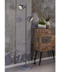 Vloerlamp 2x concrete grill ronde voet  inclusief led-lamp / Grijs