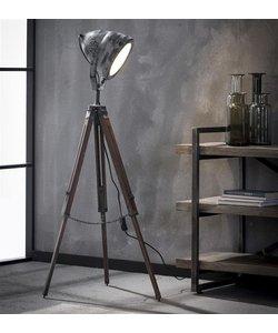 Vloerlamp Metaal Houten Statief