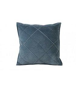Kussen 50x50 cm DIAMOND velvet blauw